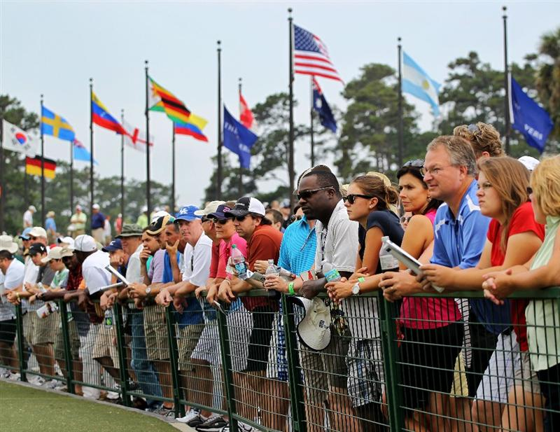 PONTE VEDRA BEACH, FL - MAY 14:  Fans watch players on the practice range during the third round of THE PLAYERS Championship held at THE PLAYERS Stadium course at TPC Sawgrass on May 14, 2011 in Ponte Vedra Beach, Florida.  (Photo by Scott Halleran/Getty Images)