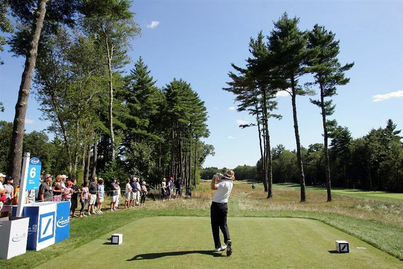 NORTON, MA - SEPTEMBER 06:  Brandt Snedeker tees off on the sixth hole during the final round of the Deutsche Bank Championship at TPC Boston on September 6, 2010 in Norton, Massachusetts.  (Photo by Michael Cohen/Getty Images)