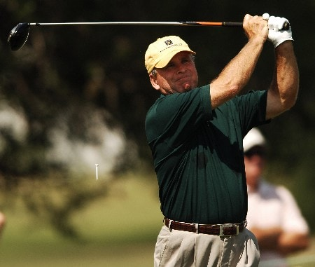 Mark McCumber hits from the 12th tee during the first round of the FedEX Kinko's Classic at the Hills Country Club in Austin, Texas April 29, 2005.Photo by Steve Grayson/WireImage.com