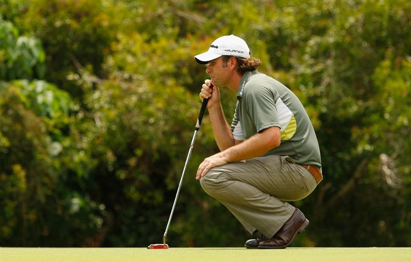 COOLUM BEACH, AUSTRALIA - DECEMBER 07:  Matthew Goggin of Australia lines up a putt during day four of the Australian PGA Championship at the Hyatt Regency Resort on December 7, 2008 at Coolum Beach, Australia.  (Photo by Cameron Spencer/Getty Images)
