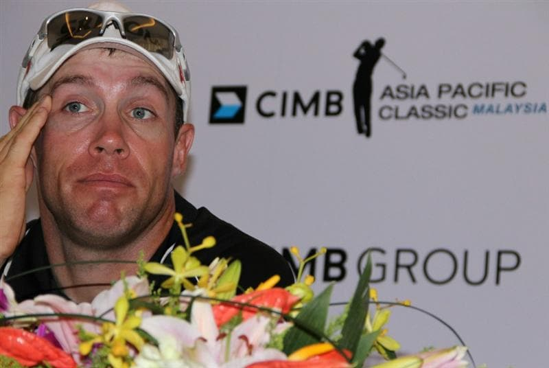 KUALA LUMPUR, MALAYSIA - OCTOBER 28: Brian Davis of England speaks during the post game press conference during day one of the CIMB Asia Pacific Classic at The MINES Resort & Golf Club on October 28, 2010 in Kuala Lumpur, Malaysia. (Photo by Stanley Chou/Getty Images)