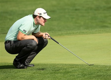 IRVING, TEXAS - APRIL 24:  Justin Bolli lines up his putt on the fourth hole during the first round of the EDS Byron Nelson Championship at TPC Four Seasons Resort Las Colinas April 24, 2008 in Irving, Texas.  (Photo by Stephen Dunn/Getty Images)