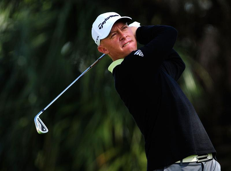 PALM BEACH GARDENS, FL - MARCH 07:  Nathan Green of Australia plays a shot on the 7th hole during the final round of the Honda Classic at PGA National Resort And Spa on March 7, 2010 in Palm Beach Gardens, Florida.  (Photo by Sam Greenwood/Getty Images)