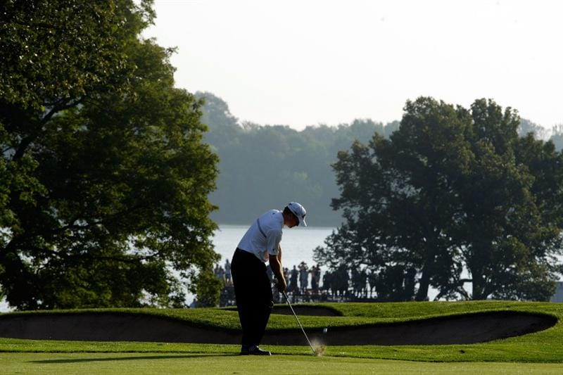 CHASKA, MN - AUGUST 13:  Tim Petrovic hits his approach shot on the tenth hole during the first round of the 91st PGA Championship at Hazeltine National Golf Club on August 13, 2009 in Chaska, Minnesota.  (Photo by Jamie Squire/Getty Images)