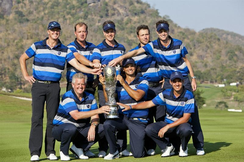 HUA HIN, THAILAND - JANUARY 09:  (Front row L-R) Colin Montgomerie of Scotland, Johan Edfors of Sweden and Matteo Manassero of Italy, (Back row L-R) Fredrik Andersson Hed of Sweden, Peter Hanson of Sweden,  Henrik Stenson of Sweden, Pablo Martin of Spain and Rhys Davies of Wales pose with the Royal Trophy after winning the Royal Trophy tournament at Black Mountain Golf Club on January 9, 2011 in Hua Hin, Thailand.  (Photo by Athit Perawongmetha/Getty Images)