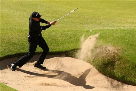 SOUTHPORT, UNITED KINGDOM - JULY 20:  Jim Furyk of the USA plays a bunker shot on the 18th hole during the final round of the 137th Open Championship on July 20, 2008 at Royal Birkdale Golf Club, Southport, England.  (Photo by Richard Heathcote/Getty Images)