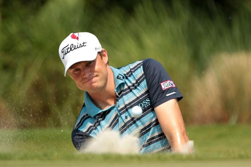 PONTE VEDRA BEACH, FL - MAY 12:  Nick Watney hits from a bunker on the second hole during the first round of THE PLAYERS Championship held at THE PLAYERS Stadium course at TPC Sawgrass on May 12, 2011 in Ponte Vedra Beach, Florida.  (Photo by Scott Halleran/Getty Images)