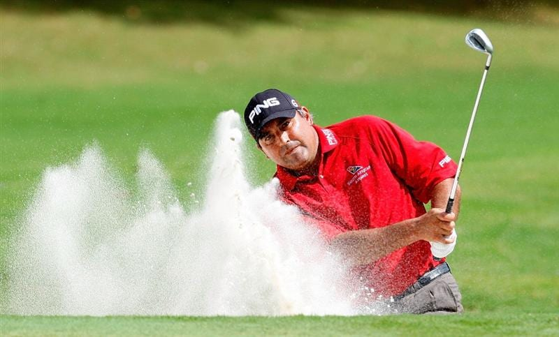 ATLANTA - SEPTEMBER 24:  Angel Cabrera of Argentina chips out of the sand on the third hole during the first round of THE TOUR Championship presented by Coca-Cola, the final event of the PGA TOUR Playoffs for the FedExCup, at East Lake Golf Club on September 24, 2009 in Atlanta, Georgia.  (Photo by Kevin C. Cox/Getty Images)