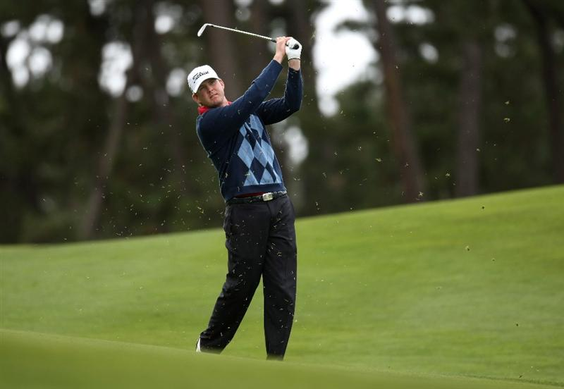 PEBBLE BEACH, CA - FEBRUARY 14: D. J. Trahan hits from the fairway on the 10th hole on Poppy Hills Golf Course during the third round of the the AT&T Pebble Beach National Pro-Am on February 14, 2009 in Pebble Beach, California. (Photo by Stephen Dunn/Getty Images)