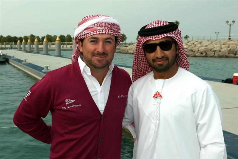 ABU DHABI, UNITED ARAB EMIRATES - JANUARY 18:  Faisal al Sheikh of Events Manager of The Abu Dhabi Tourism Authority with Graeme McDowell of Northern Ireland of Germany on board the Abu Dhabi Ocean Racing entry for the 2011 Volvo Ocean Race as a preview for the 2011 Abu Dhabi HSBC Golf Championship to be held at the Abu Dhabi Golf Club on January 18, 2011 in Abu Dhabi, United Arab Emirates.  (Photo by David Cannon/Getty Images)