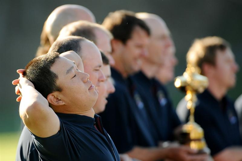 LOUISVILLE, KY - SEPTEMBER 17:  Anthony Kim of USA takes a break during the USA team photo shoot prior to the 2008 Ryder Cup at Valhalla Golf Club on September 17, 2008 in Louisville, Kentucky.  (Photo by Harry How/Getty Images)
