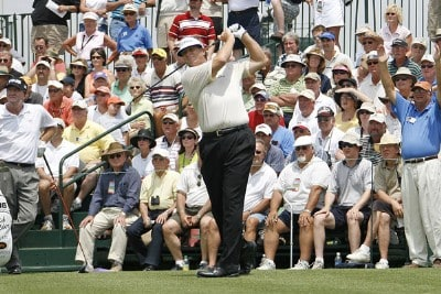 Peter Jacobsen tees off on hole 1 during the third round of the U.S. Senior Open at Prairie Dunes Country Club in Hutchinson, Kansas on July 8, 2006.Photo by G. Newman Lowrance/WireImage.com