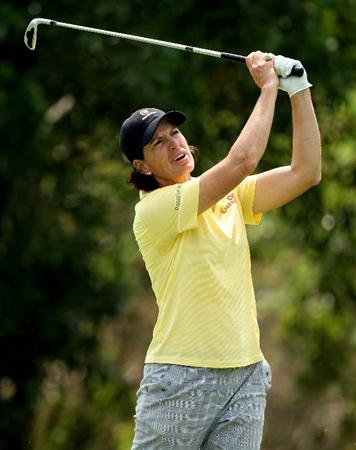 SINGAPORE - FEBRUARY 27:  Juli Inkster of the USA plays her second shot on the 17th hole during the third round of the HSBC Women's Champions at the Tanah Merah Country Club on February 27, 2010 in Singapore.  (Photo by Andrew Redington/Getty Images)