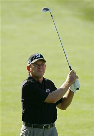TIMONIUM, MD - OCTOBER 11:  Nick Price plays his second shot on the 10th hole during the third round of the Constellation Energy Senior Players Championship at Baltimore Country Club East Course held on October 11, 2008 in Timonium, Maryland  (Photo by Michael Cohen/Getty Images)