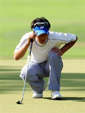 PALM HARBOR, FL - MARCH 19:  Ryo Ishikawa of Japan looks over a birdie putt on the 2nd hole during the first round of the Transitions Championship at the Innisbrook Resort and Golf Club on March 19, 2009 in Palm Harbor, Florida.  (Photo by Sam Greenwood/Getty Images)