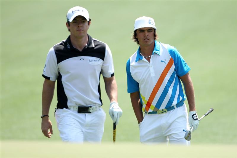 AUGUSTA, GA - APRIL 08:  (L-R) Rory McIlroy of Northern Ireland and Rickie Fowler look on from the first hole during the second round of the 2011 Masters Tournament at Augusta National Golf Club on April 8, 2011 in Augusta, Georgia.  (Photo by Andrew Redington/Getty Images)