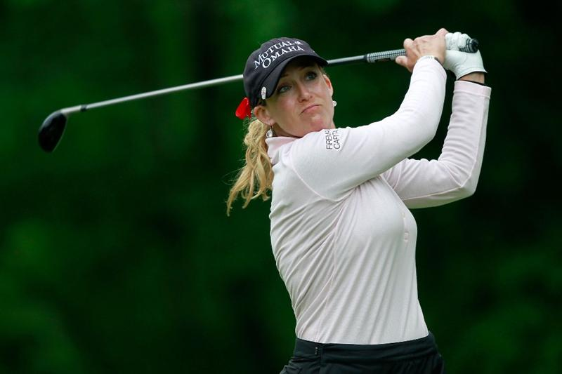 GLADSTONE, NJ - MAY 22:  Cristie Kerr hits her tee shot on the second hole during her match against  Suzann Pettersen of Norway in the final of the Sybase Match Play Championship at Hamilton Farm Golf Club on May 22, 2011 in Gladstone, New Jersey.  (Photo by Chris Trotman/Getty Images)