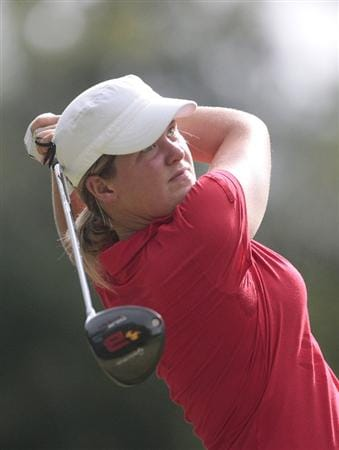 MOBILE, AL - SEPTEMBER 11:  Karin Sjodin of Sweden tees off on the 10th hole during first round play in the Bell Micro LPGA Classic at Magnolia Grove Golf Course on September 11, 2008 in Mobile, Alabama.  (Photo by Dave Martin/Getty Images)