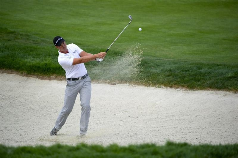 SAN MARTIN, CA - OCTOBER 16:  Henrik Stenson of Sweden makes a shot out of a bunker on the sixth hole during the third round of the Frys.com Open at the CordeValle Golf Club on October 16, 2010 in San Martin, California.  (Photo by Robert Laberge/Getty Images)