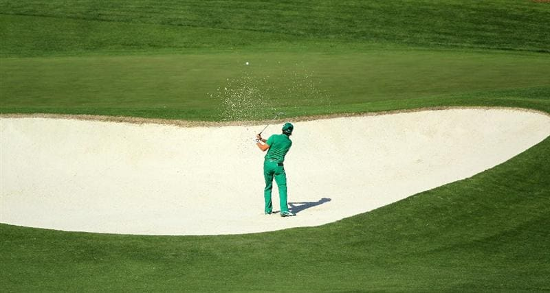 AUGUSTA, GA - APRIL 07:  Rickie Fowler hits from a bunker on the fourth hole during the first round of the 2011 Masters Tournament at Augusta National Golf Club on April 7, 2011 in Augusta, Georgia.  (Photo by David Cannon/Getty Images)