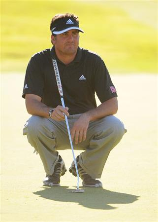 LAS VEGAS- OCTOBER 17: Pat Perez lines up a birdie putt on the par three 17th during the second round of the Justin Timberlake Shriners Hospitals for Children Open held at the TPC Summerlin on Friday, October 17, 2008 in Las Vegas, Nevada(Photo by Marc Feldman\Getty Images)