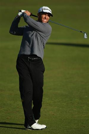CARNOUSTIE, SCOTLAND - OCTOBER 07:  Tim Wilkinson of New Zealand plays his second shot into the 17th green during the first round of The Alfred Dunhill Links Championship at Carnoustie Golf Links on October 7, 2010 in Carnoustie, Scotland.  (Photo by Warren Little/Getty Images)
