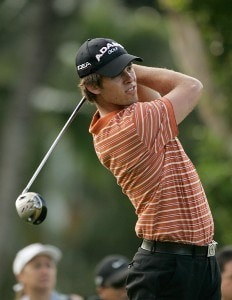 Aaron Baddeley hits his drive from the first tee box during the first round at the Sony Open in Hawaii held at Waialae Country Club on January 10, 2008 in Honolulu, Hawaii. PGA TOUR - 2008 Sony Open in Hawaii - First RoundPhoto by Stan Badz/PGA TOUR/WireImage.com