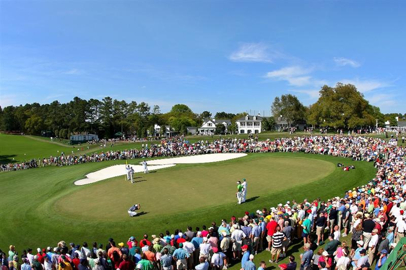 AUGUSTA, GA - APRIL 09:  Play on the ninth green during the first round of the 2009 Masters Tournament at Augusta National Golf Club on April 9, 2009 in Augusta, Georgia.  (Photo by Andrew Redington/Getty Images)