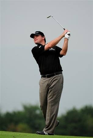 VIENNA, AUSTRIA - SEPTEMBER 18:  Paul Lawrie of Scotland plays into the 6th green during the second round of the Austrian Golf Open at Fontana Golf Club on September 18, 2009 in Vienna, Austria.  (Photo by Richard Heathcote/Getty Images)