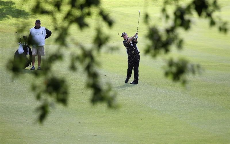 ESTORIL, PORTUGAL - JUNE 10:  Phillip Price of Wales plays his second shot into the first green during the first round of the Estoril Open de Portugal at Penha Longa Golf Club on June 10, 2010 in Estoril, Portugal.  (Photo by Warren Little/Getty Images)