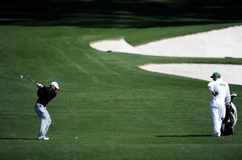 AUGUSTA, GA - APRIL 05:  Sergio Garcia of Spain hits a shot during a practice round prior to the 2011 Masters Tournament at Augusta National Golf Club on April 5, 2011 in Augusta, Georgia.  (Photo by Harry How/Getty Images)