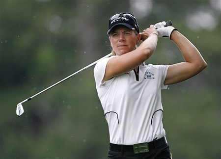 WILLIAMSBURG, VA - MAY 9: Annika Sorenstam of Sweden hits her second shot on the 12th hole during the second round of the Michelob Ultra Open at Kingsmill Resort & Spa on May 9, 2008 in Williamsburg, Virginia. (Photo by Hunter Martin/Getty Images)