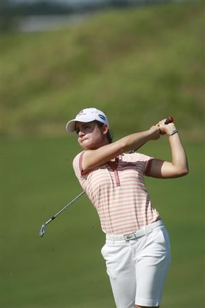 PRATTVILLE, AL - OCTOBER 1:  Lorena Ochoa of Mexico hits her approach shot to the 12th tee during first round play in the Navistar LPGA Classic at the Robert Trent Jones Golf Trail at Capitol Hill on October 1, 2009 in  Prattville, Alabama.  (Photo by Dave Martin/Getty Images)