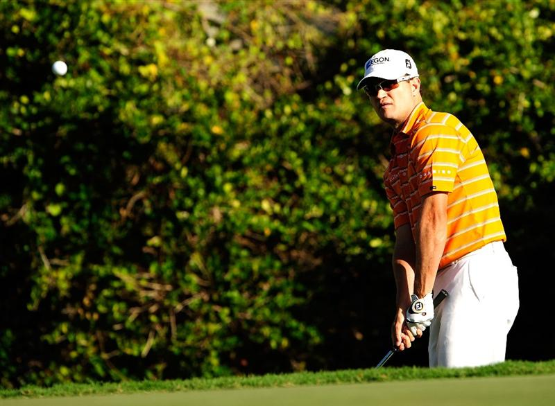 HONOLULU - JANUARY 14:  Zach Johnson plays a shot during the first round of the Sony Open at Waialae Country Club on January 14, 2010 in Honolulu, Hawaii.  (Photo by Sam Greenwood/Getty Images)