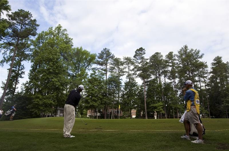 RALEIGH, NC - MAY 28: Patrick Sheehan chips to the third green during the first round of the Rex Hospital Open Nationwide Tour golf tournament at the TPC Wakefield Plantation on May 28, 2009 in Raleigh, North Carolina. (Photo by Chris Keane/Getty Images)