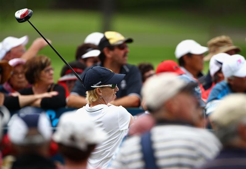 GOLD COAST, AUSTRALIA - MARCH 07:  Karrie Webb of Australia hits a tee shot on the 1st hole during round four of the 2010 ANZ Ladies Masters at Royal Pines Resort on March 7, 2010 in Gold Coast, Australia.  (Photo by Ryan Pierse/Getty Images)