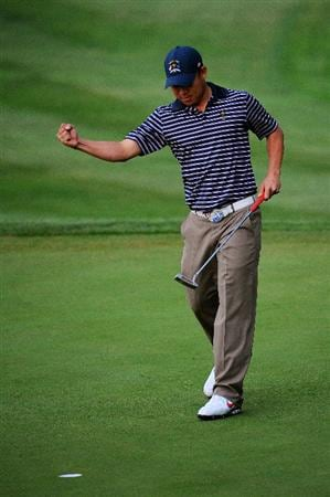 LOUISVILLE, KY - SEPTEMBER 20:  Anthony Kim of the USA team celebrates a birdie on the fourth hole during the morning foursome matches on day two of the 2008 Ryder Cup at Valhalla Golf Club on September 20, 2008 in Louisville, Kentucky.  (Photo by Sam Greenwood/Getty Images)