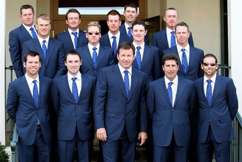 LOUISVILLE, KY - SEPTEMBER 18:  (back row L-R) European team members Lee Westwood, Robert Karlsson, Graeme McDowell, Ian Poulter, Henrik Stensen, Padraig Harrington, Justin Rose, Miguel Angel Jimenez and Soren Hansen stand behind (front row L-R) Paul Casey, Oliver Wilson, captain Nick Faldo, assistant captain Jose Maria Olazabal and Sergio Garcia prior to the opening ceremony for the 2008 Ryder Cup at Valhalla Golf Club on September 18, 2008 in Louisville, Kentucky.  (Photo by David Cannon/Getty Images)