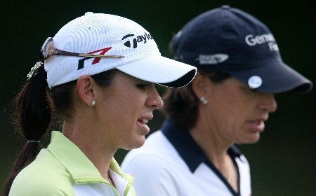 WEST PALM BEACH, FL - NOVEMBER 17:  Nicole Castrale and Juli Inkster walk off the ninth tee during the third round of the 2007 ADT Championship at the Trump International Golf Club on November 17, 2007 in West Palm Beach, Florida  (Photo by Scott Halleran/Getty Images)