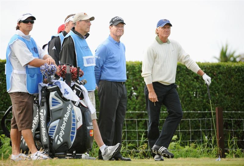 TURNBERRY, SCOTLAND - JULY 14:  Tom Watson of USA waits to tee off alongside Greg Norman (R) of Australia during a practice round prior to the 138th Open Championship on the Ailsa Course, Turnberry Golf Club on July 14, 2009 in Turnberry, Scotland.  (Photo by Harry How/Getty Images)