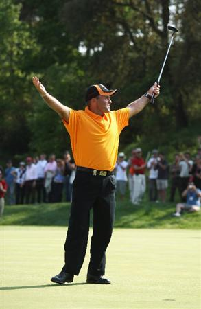 GIRONA, SPAIN - MAY 03:  Thomas Levet of France celebrates winning the Open de Espana on a score of -18 under par at the PGA Golf Catalunya on May 3, 2009 in Girona, Spain.  (Photo by Warren Little/Getty Images)