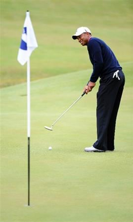TURNBERRY, SCOTLAND - JULY 13:  Tiger Woods of the USA during the practice round of the 138th Open Championship on July 13, 2009 on the Ailsa Course, Turnberry Golf Club, Turnberry, Scotland.  (Photo by Harry How/Getty Images)