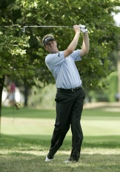 Tim Petrovic recovers from the rough during the second round of the Buick Championship at the Tournament Players Club at River Highlands in Cromwell, Connecticut on August 26, 2005.Photo by Michael Cohen/WireImage.com