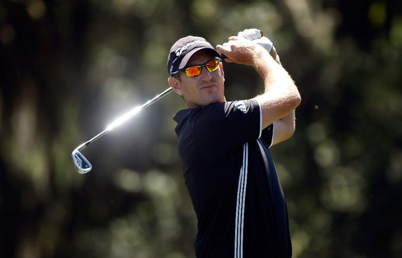 HILTON HEAD ISLAND, SC - APRIL 16:  Greg Owen of England hits his tee shot on the 14th hole during the second round of the Verizon Heritage at the Harbour Town Golf Links on April 16, 2010 in Hilton Head lsland, South Carolina.  (Photo by Scott Halleran/Getty Images)