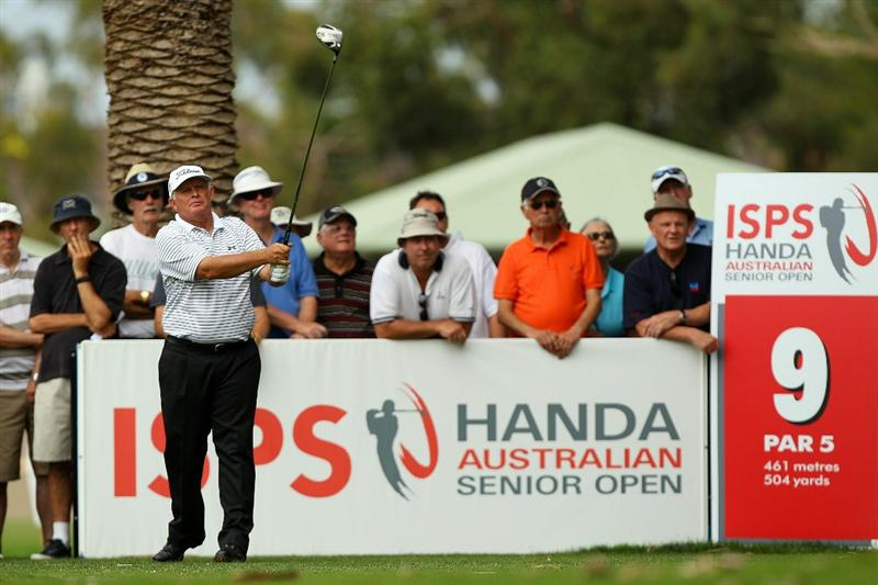 PERTH, AUSTRALIA - NOVEMBER 20:  Peter Senior of Australia tees off on the 9th hole during day two of the 2010 Australian Senior Open at Royal Perth Golf Club on November 20, 2010 in Perth, Australia.  (Photo by Paul Kane/Getty Images)