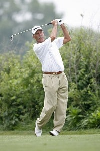 Mark James hits a tee shot during the final round of the U.S. Senior Open at Prairie Dunes Country Club in Hutchinson,  Kansas on July 9, 2006.Photo by G. Newman Lowrance/WireImage.com