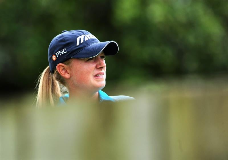 EVIAN-LES-BAINS, FRANCE - JULY 24:  Stacy Lewis of USA ponders during the second round of the Evian Masters at the Evian Masters Golf Club on July 24, 2009 in Evian-les-Bains, France.  (Photo by Stuart Franklin/Getty Images)