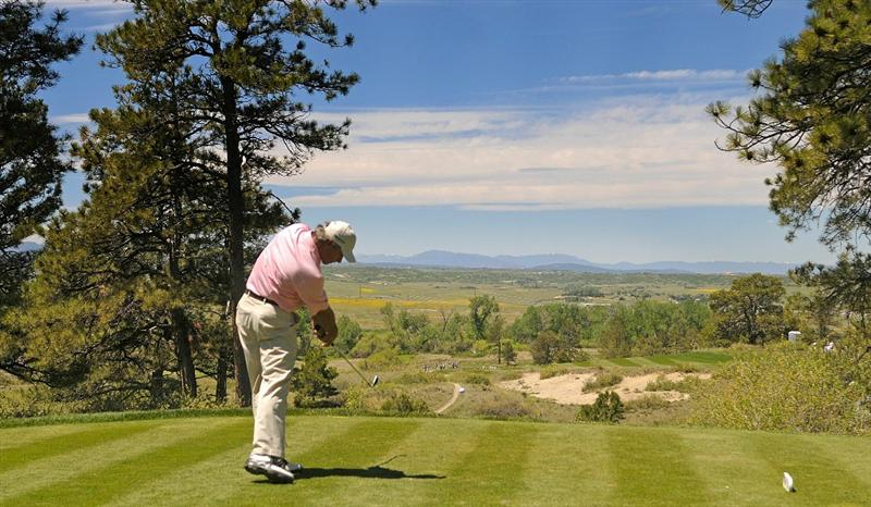 PARKER, CO. - MAY 29: Fred Couples tees off the third hole hole during the third round of the Senior PGA Championship at the Colorado Golf Club on May 29, 2010 in Parker, Colorado.  (Photo by Marc Feldman/Getty Images)