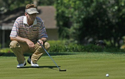 Brad Faxon lines up his putt on the 13th green during the final round of the 2006 Verizon Herizon Heritage Classic Sunday, April 16, 2006, at Harbour Town Golf Links in Hilton Head Island, South Carolina.Photo by Kevin C.  Cox/WireImage.com