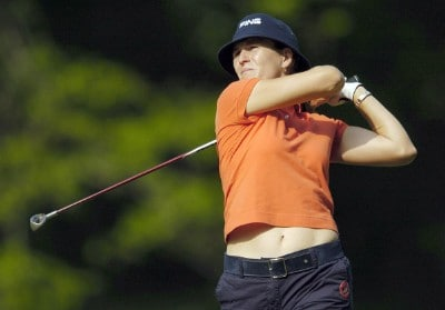 Patricia Meunier-LeBouc tees off during the second round of the LPGA Florida's Natural Charity Championship on Friday, April 21, 2006, at Eagle's Landing Country Club in Stockbridge, Georgia.Photo by Grant Halverson/WireImage.com